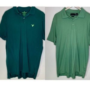 4/$15 lot of two green mens work polos